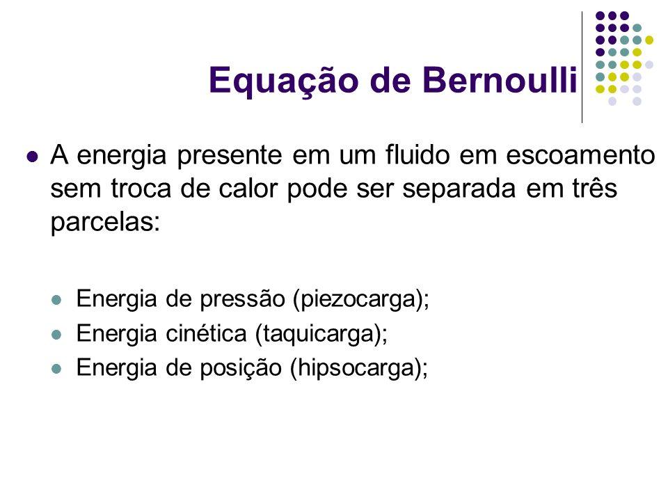 Equação de Bernoulli A energia presente em um fluido em escoamento sem troca de calor pode ser separada em três parcelas: