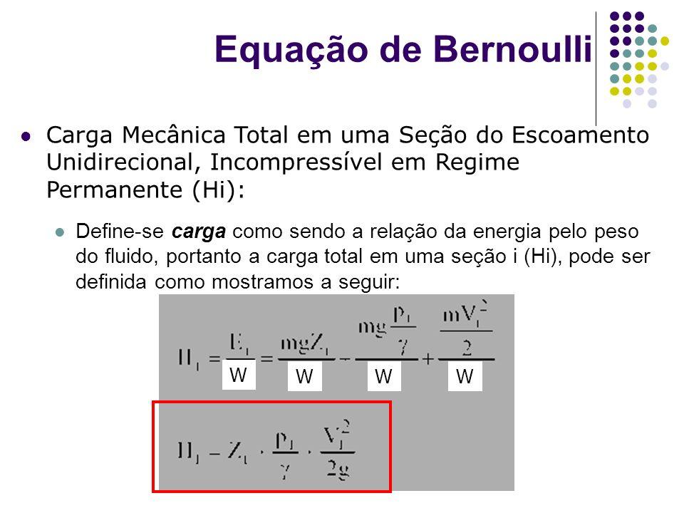 Equação de Bernoulli Carga Mecânica Total em uma Seção do Escoamento Unidirecional, Incompressível em Regime Permanente (Hi):