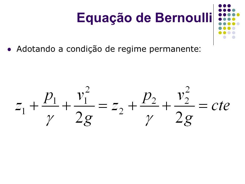 Equação de Bernoulli Adotando a condição de regime permanente: