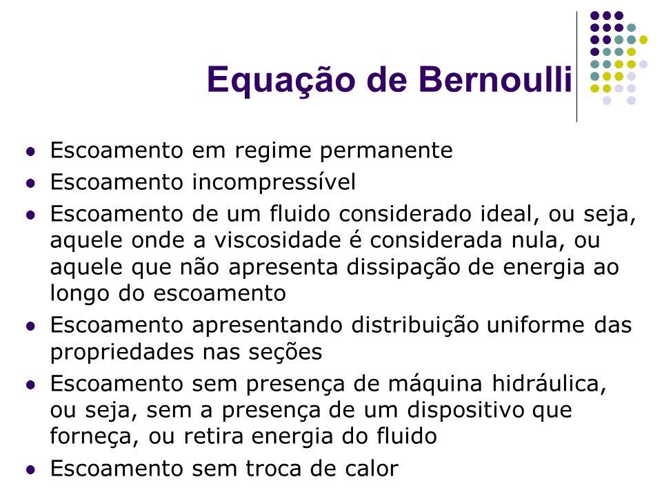 Equação de Bernoulli Escoamento em regime permanente