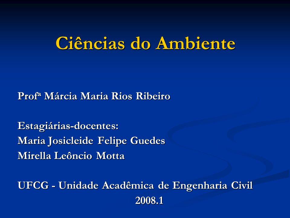 Ciências do Ambiente Profa Márcia Maria Rios Ribeiro