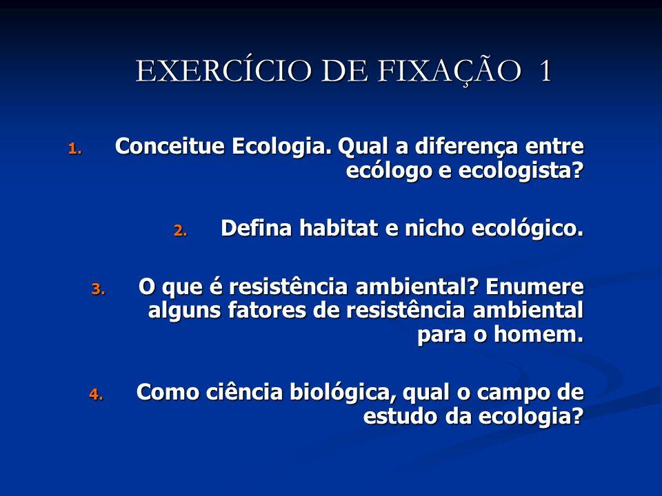 EXERCÍCIO DE FIXAÇÃO 1 Conceitue Ecologia. Qual a diferença entre ecólogo e ecologista Defina habitat e nicho ecológico.