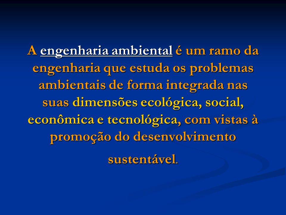 A engenharia ambiental é um ramo da engenharia que estuda os problemas ambientais de forma integrada nas suas dimensões ecológica, social, econômica e tecnológica, com vistas à promoção do desenvolvimento sustentável.