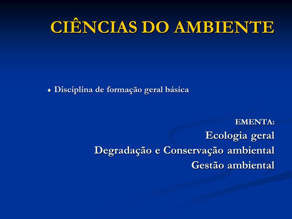 CIÊNCIAS DO AMBIENTE Degradação e Conservação ambiental