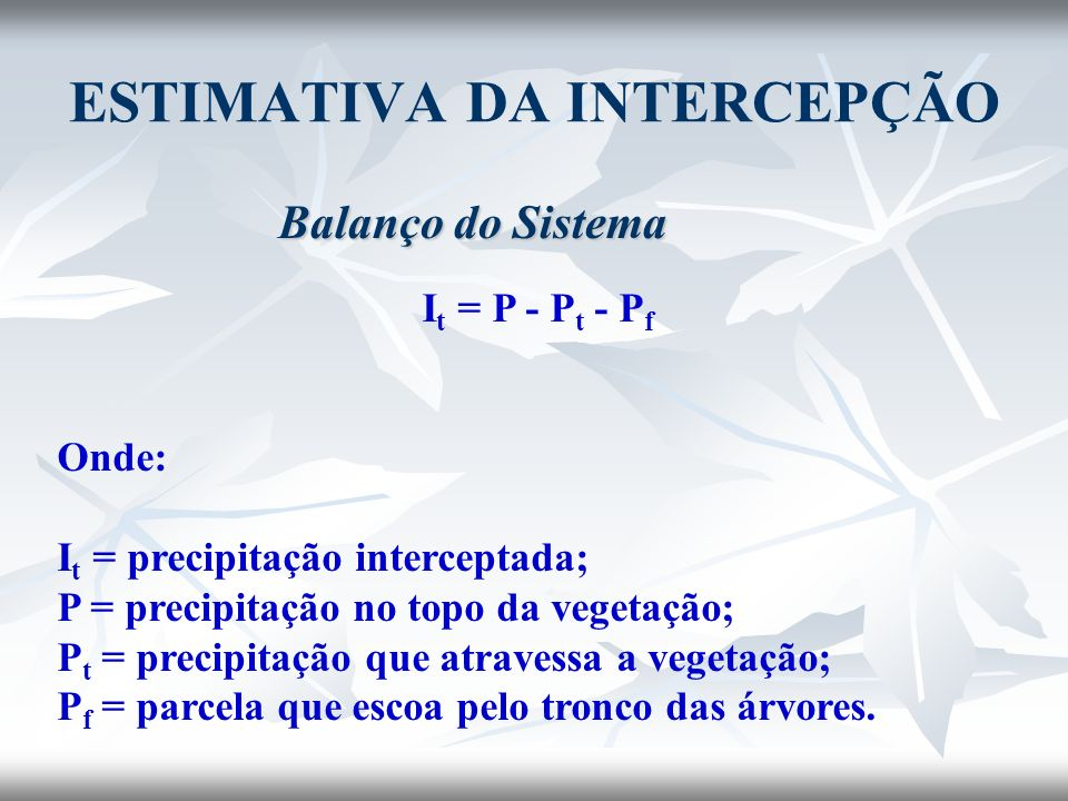ESTIMATIVA DA INTERCEPÇÃO