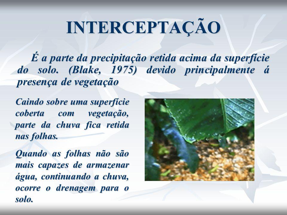 INTERCEPTAÇÃO É a parte da precipitação retida acima da superfície do solo. (Blake, 1975) devido principalmente á presença de vegetação.