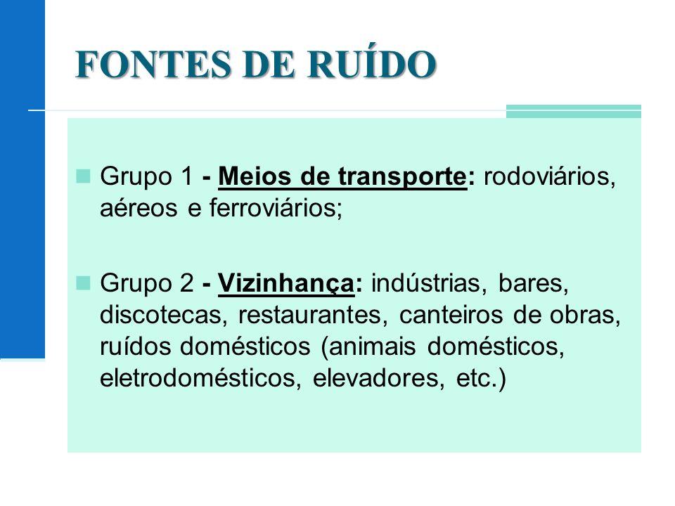 FONTES DE RUÍDO Grupo 1 - Meios de transporte: rodoviários, aéreos e ferroviários;
