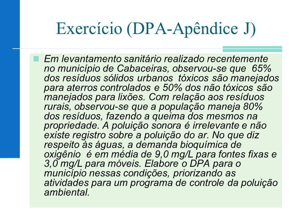 Exercício (DPA-Apêndice J)