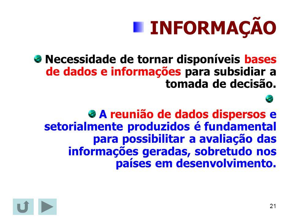 INFORMAÇÃO Necessidade de tornar disponíveis bases de dados e informações para subsidiar a tomada de decisão.