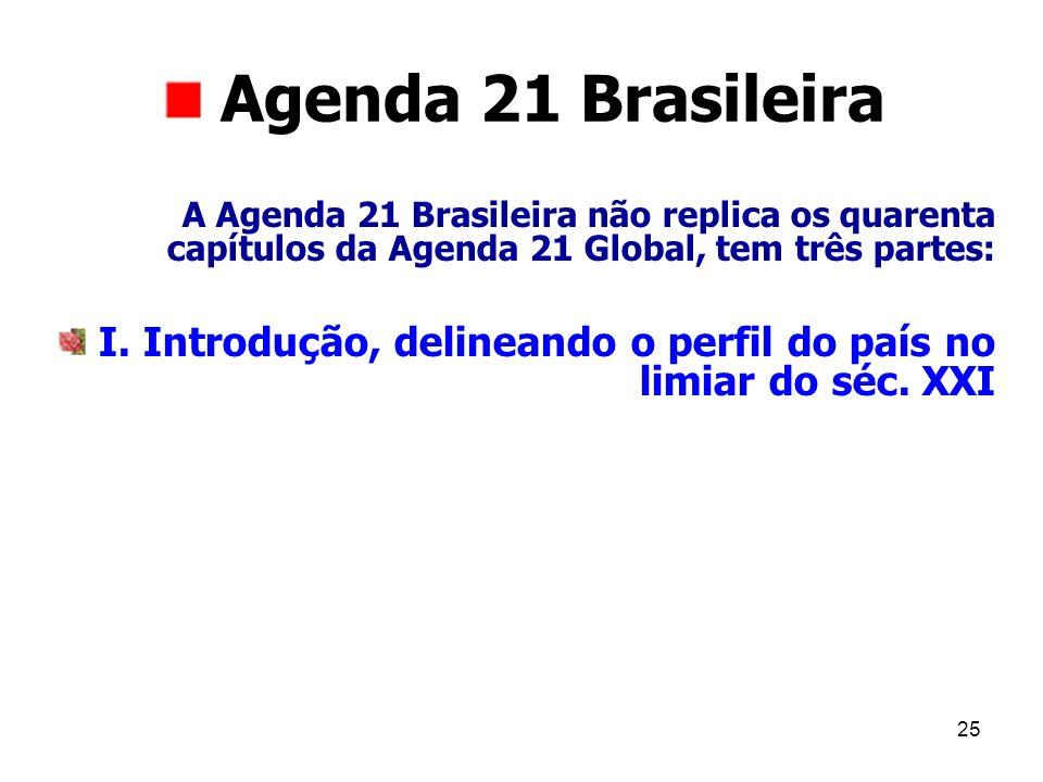 Agenda 21 Brasileira A Agenda 21 Brasileira não replica os quarenta capítulos da Agenda 21 Global, tem três partes: