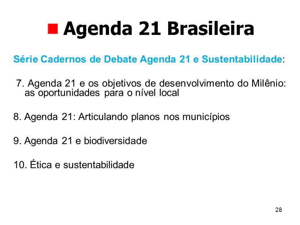 Agenda 21 Brasileira Série Cadernos de Debate Agenda 21 e Sustentabilidade: