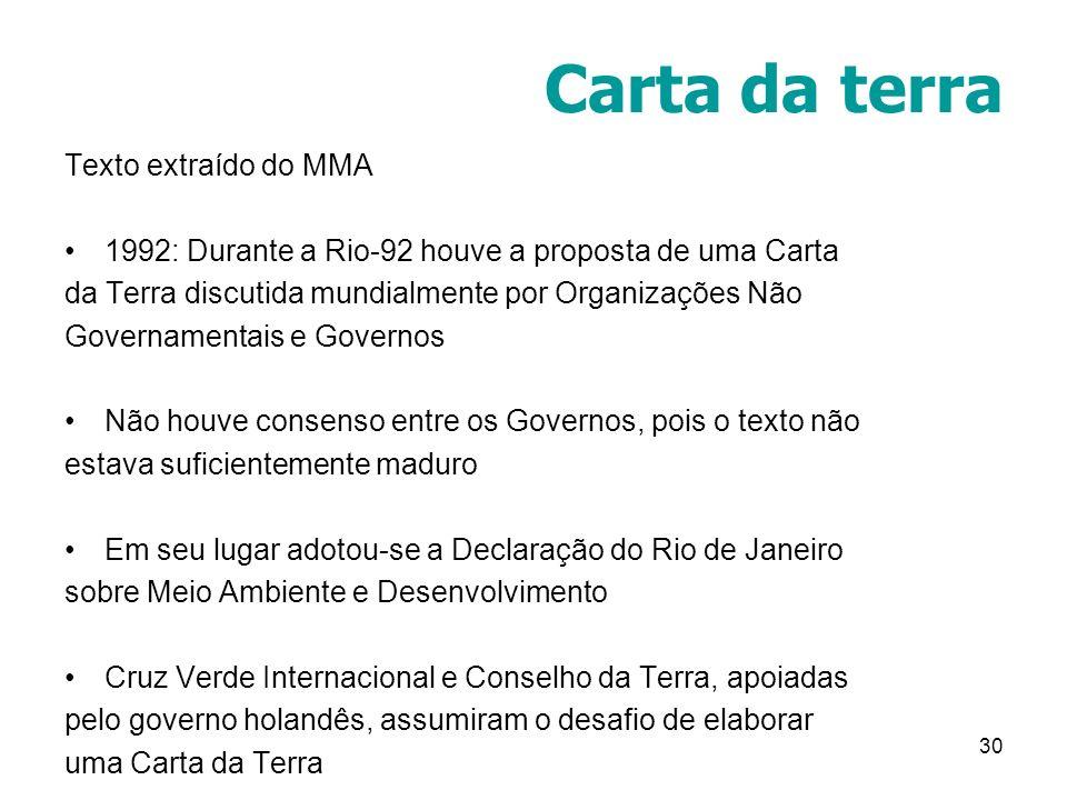 Carta da terra Texto extraído do MMA