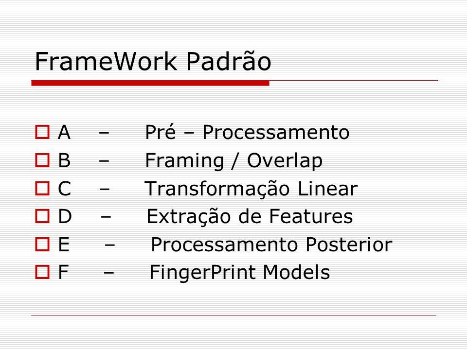 FrameWork Padrão A – Pré – Processamento B – Framing / Overlap