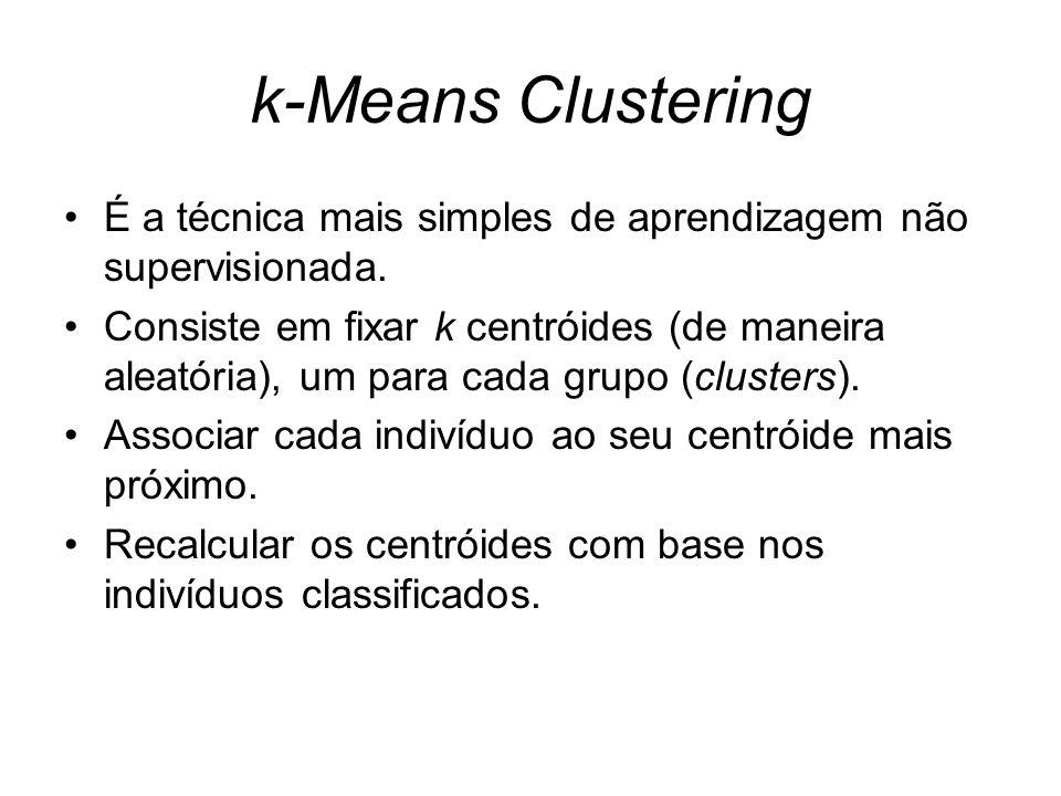 k-Means Clustering É a técnica mais simples de aprendizagem não supervisionada.