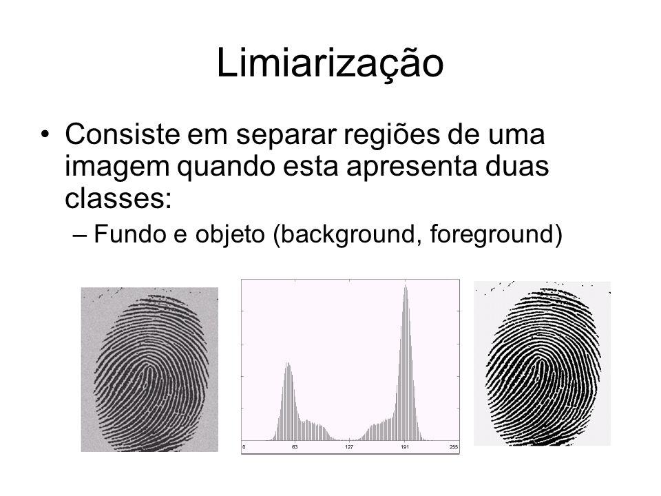 Limiarização Consiste em separar regiões de uma imagem quando esta apresenta duas classes: Fundo e objeto (background, foreground)