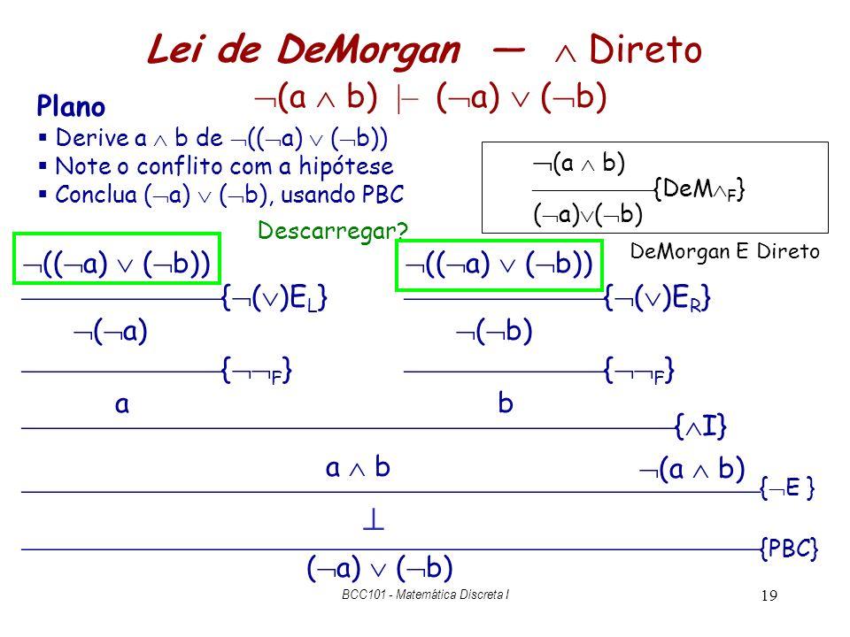 Lei de DeMorgan —  Direto (a  b) |– (a)  (b)