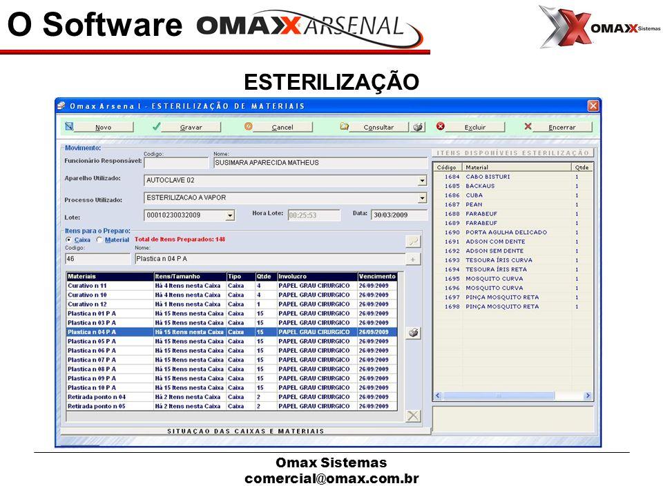 O Software ESTERILIZAÇÃO Omax Sistemas comercial@omax.com.br