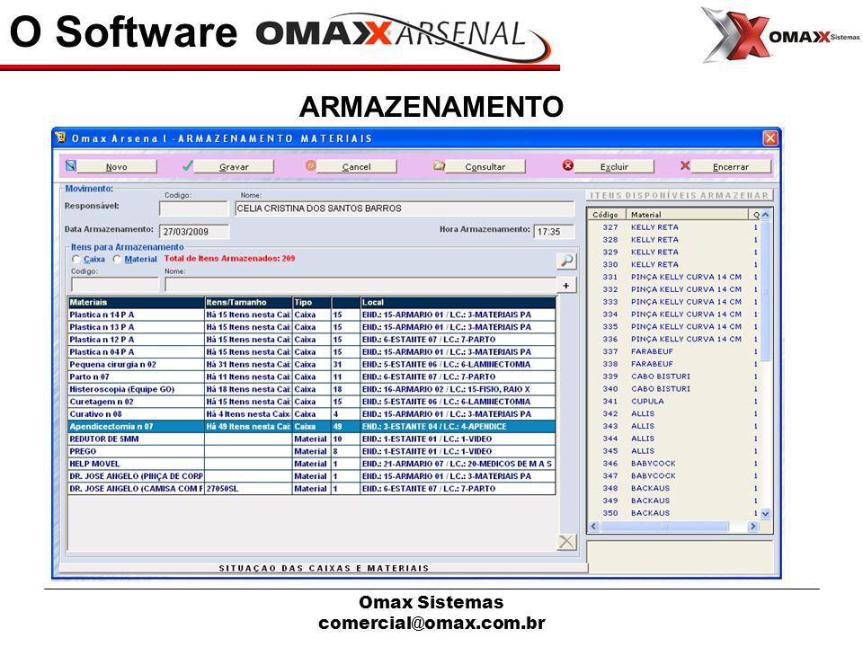 O Software ARMAZENAMENTO Omax Sistemas comercial@omax.com.br