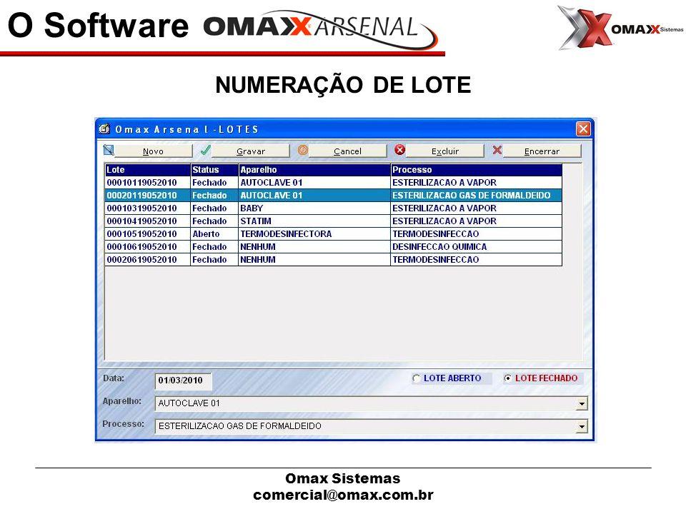 O Software NUMERAÇÃO DE LOTE Omax Sistemas comercial@omax.com.br