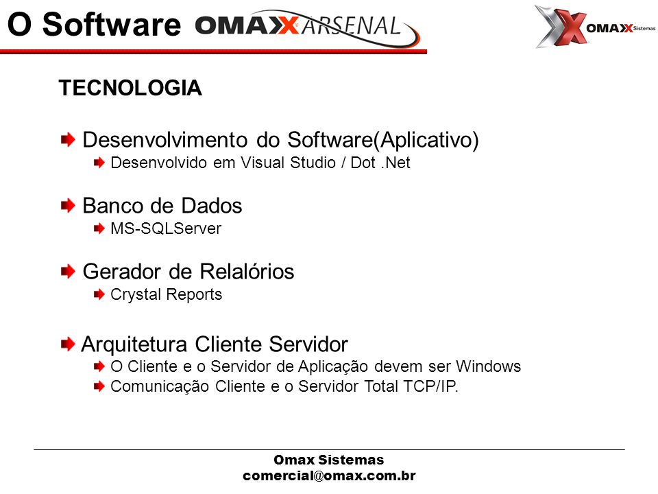 O Software TECNOLOGIA Desenvolvimento do Software(Aplicativo)