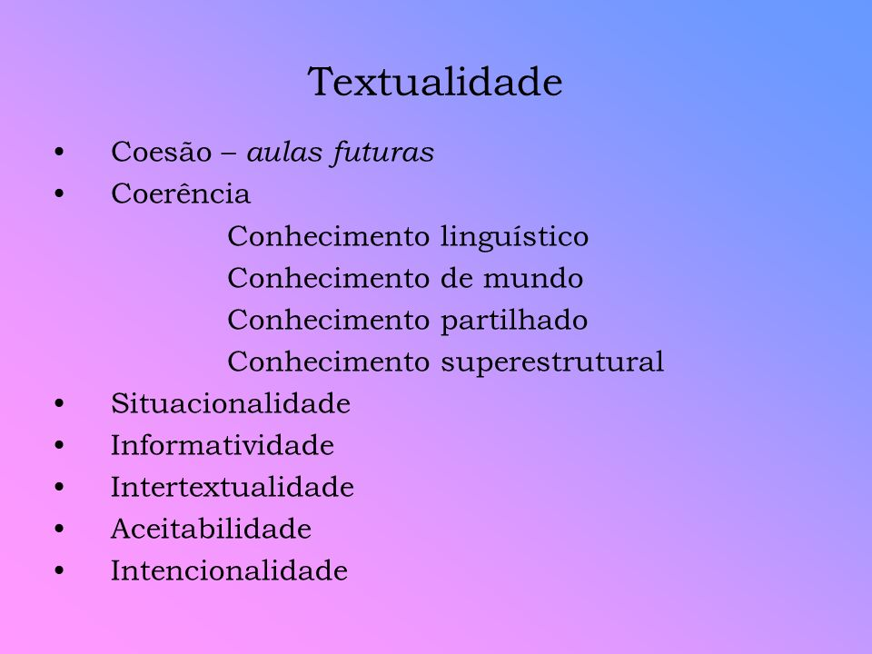Textualidade Coesão – aulas futuras Coerência Conhecimento linguístico