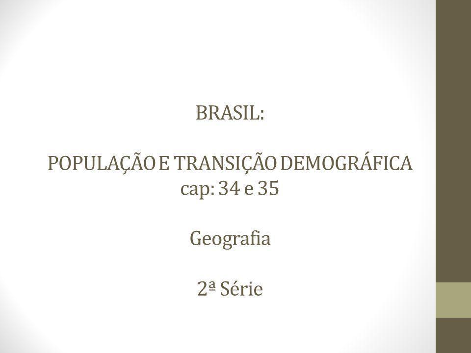 BRASIL: POPULAÇÃO E TRANSIÇÃO DEMOGRÁFICA cap: 34 e 35 Geografia 2ª Série