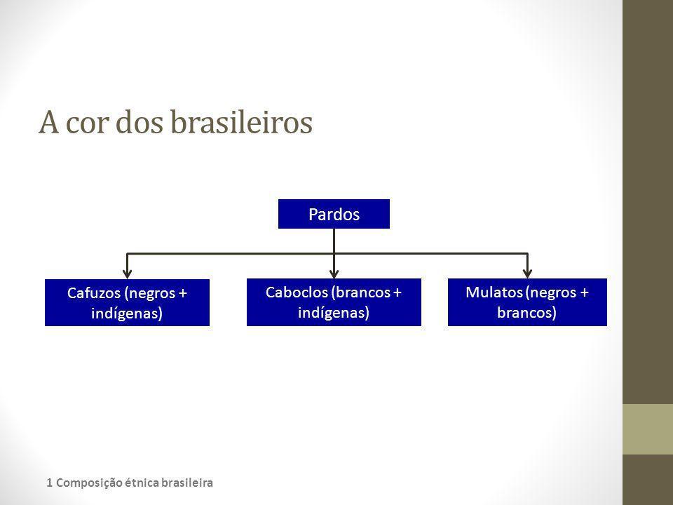 A cor dos brasileiros Pardos Cafuzos (negros + indígenas)