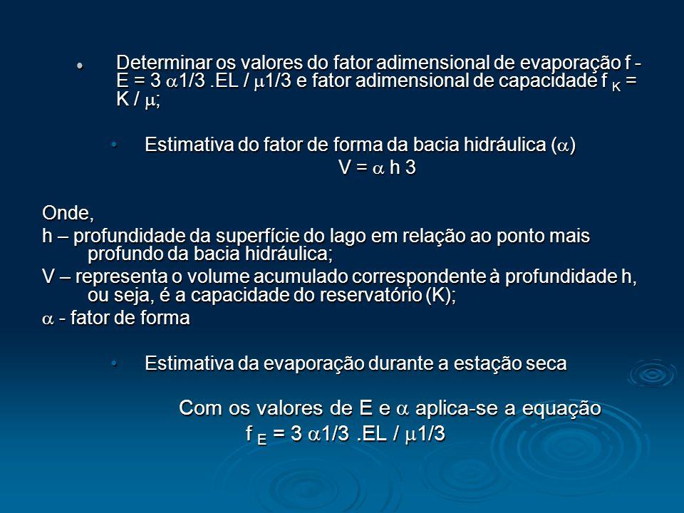 Com os valores de E e  aplica-se a equação f E = 3 1/3 .EL / 1/3