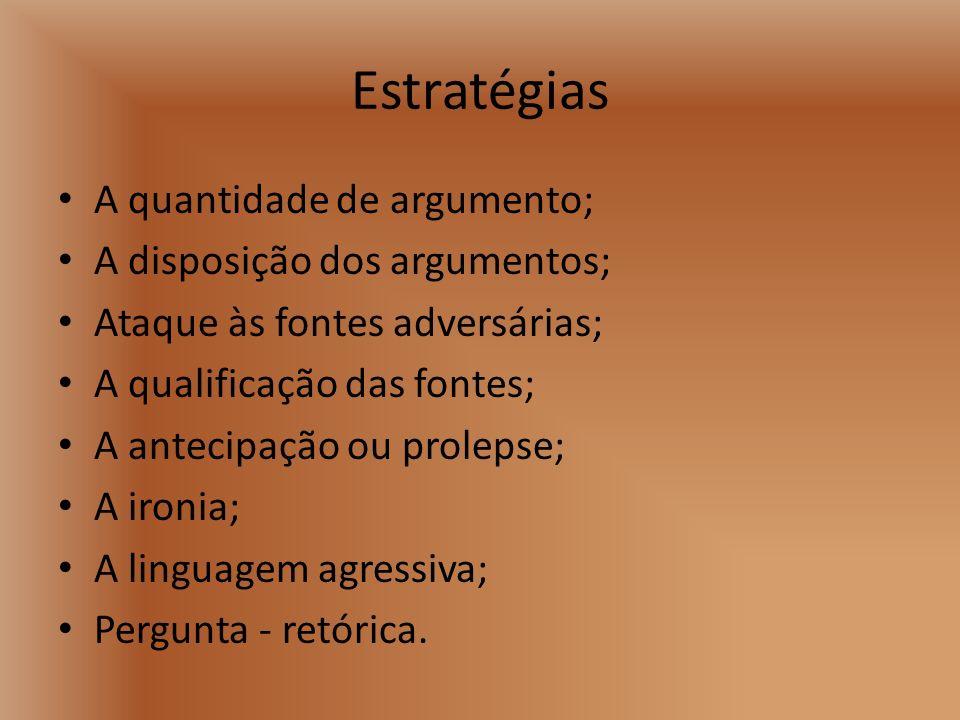 Estratégias A quantidade de argumento; A disposição dos argumentos;