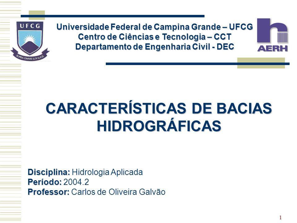 CARACTERÍSTICAS DE BACIAS HIDROGRÁFICAS