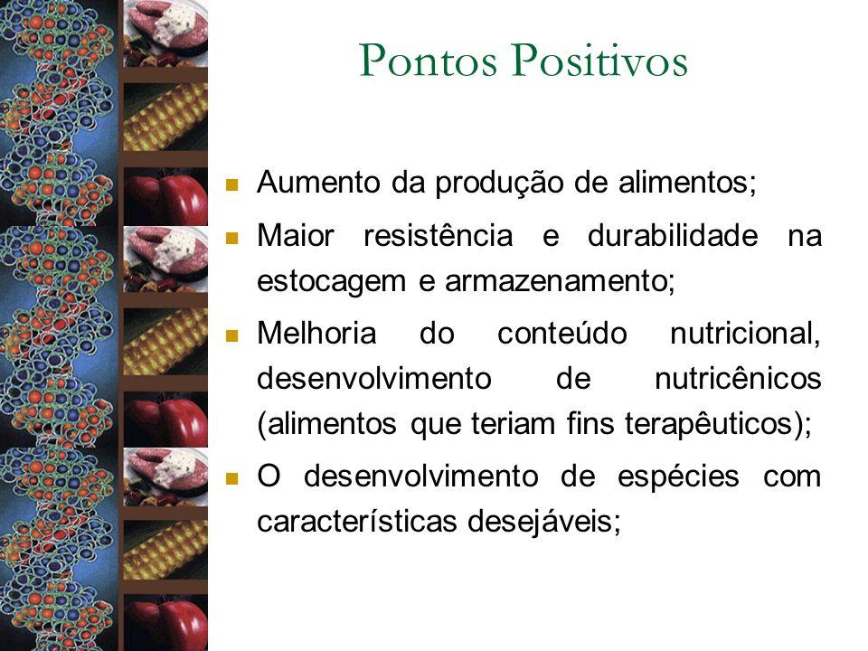 Pontos Positivos Aumento da produção de alimentos;