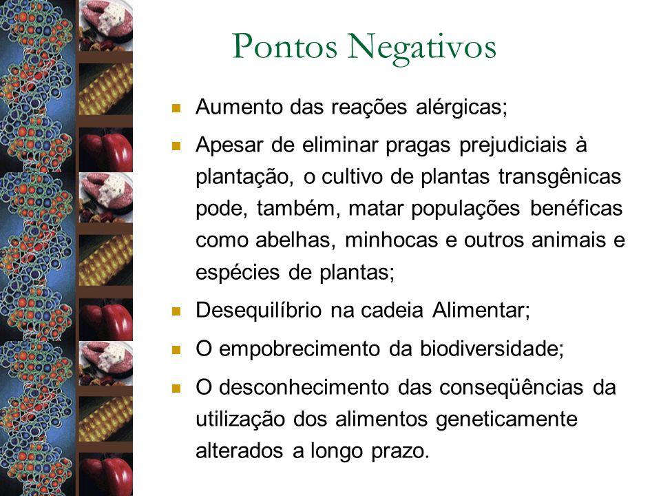 Pontos Negativos Aumento das reações alérgicas;