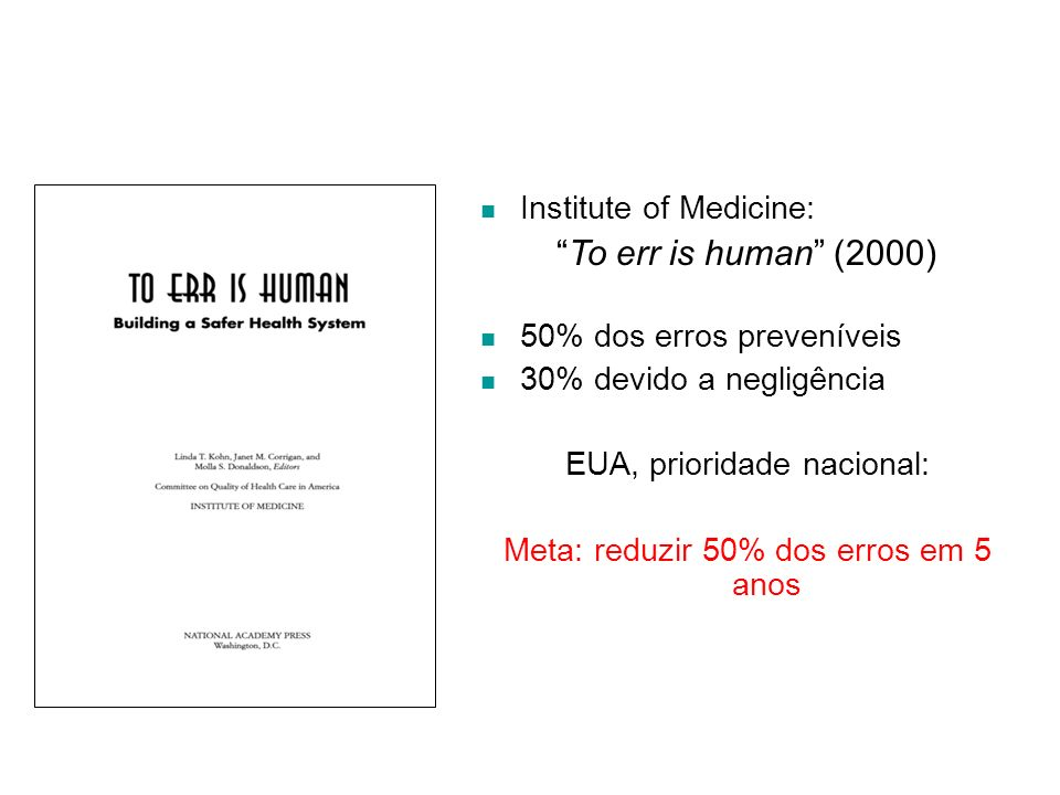 To err is human (2000) Institute of Medicine: