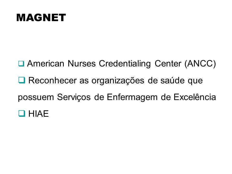 MAGNET American Nurses Credentialing Center (ANCC) Reconhecer as organizações de saúde que possuem Serviços de Enfermagem de Excelência.