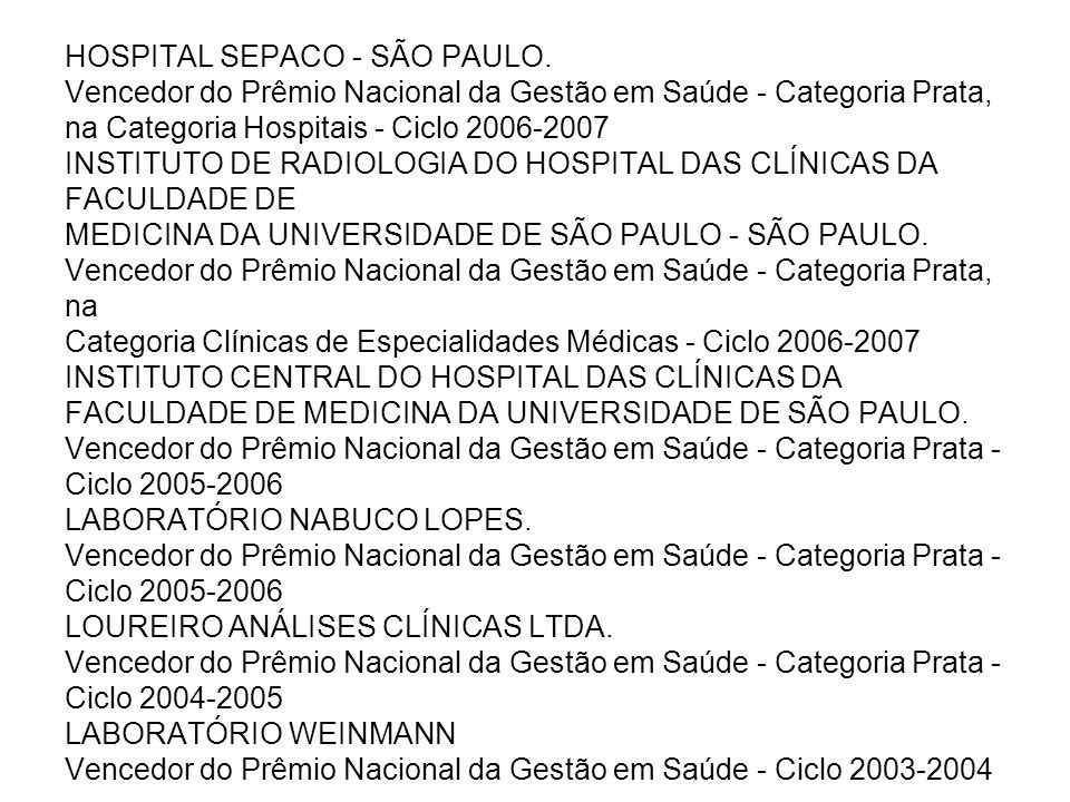 HOSPITAL SEPACO - SÃO PAULO