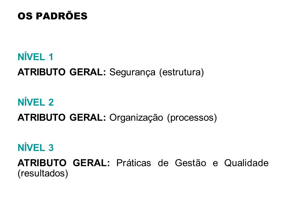 OS PADRÕES NÍVEL 1. ATRIBUTO GERAL: Segurança (estrutura) NÍVEL 2. ATRIBUTO GERAL: Organização (processos)