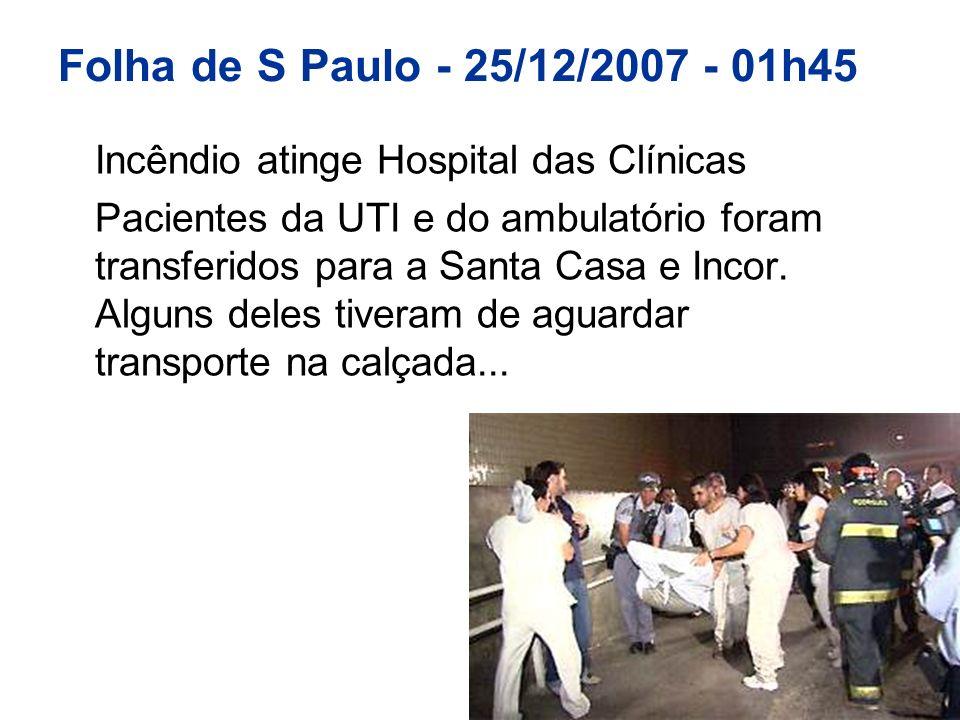Folha de S Paulo - 25/12/2007 - 01h45 Incêndio atinge Hospital das Clínicas.