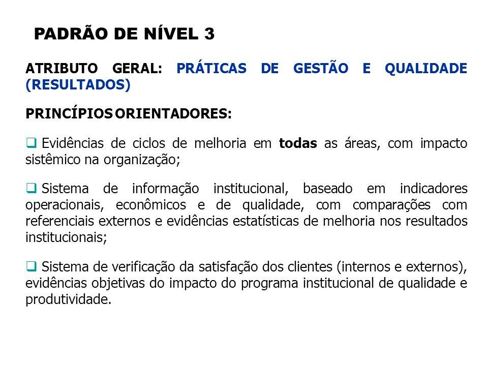 PADRÃO DE NÍVEL 3 ATRIBUTO GERAL: PRÁTICAS DE GESTÃO E QUALIDADE (RESULTADOS) PRINCÍPIOS ORIENTADORES: