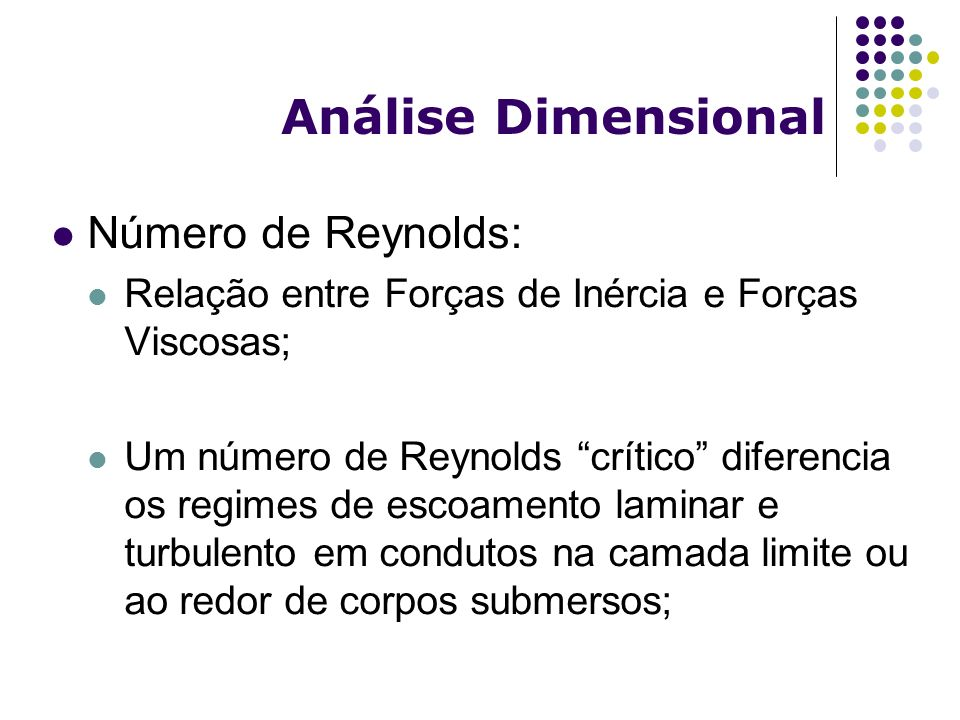 Análise Dimensional Número de Reynolds:
