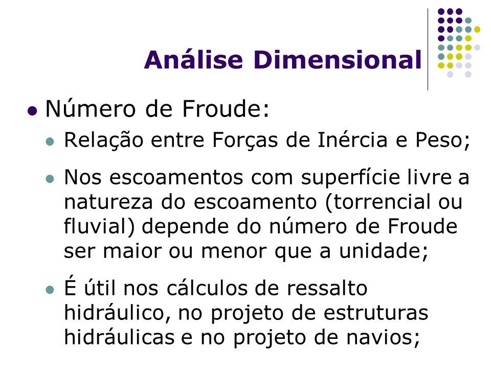 Análise Dimensional Número de Froude: