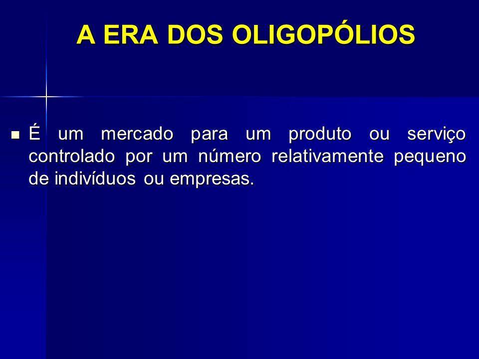 A ERA DOS OLIGOPÓLIOS É um mercado para um produto ou serviço controlado por um número relativamente pequeno de indivíduos ou empresas.