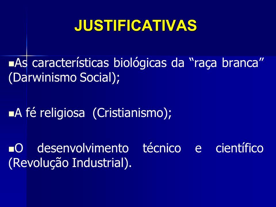 JUSTIFICATIVAS As características biológicas da raça branca (Darwinismo Social); A fé religiosa (Cristianismo);