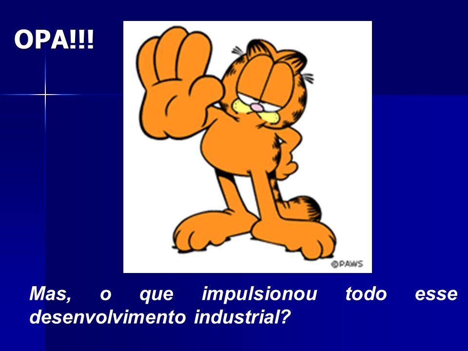 OPA!!! Mas, o que impulsionou todo esse desenvolvimento industrial