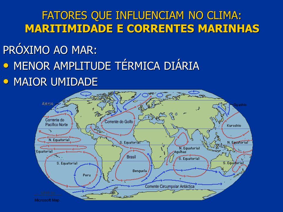 FATORES QUE INFLUENCIAM NO CLIMA: MARITIMIDADE E CORRENTES MARINHAS