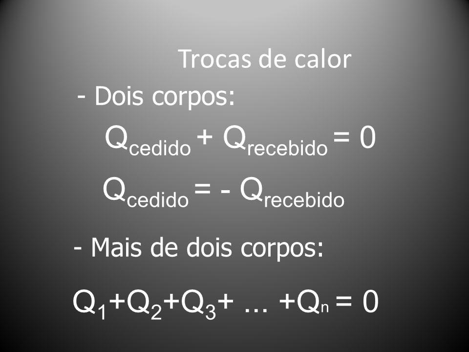 Qcedido + Qrecebido = 0 Qcedido = - Qrecebido Q1+Q2+Q3+ ... +Qn = 0