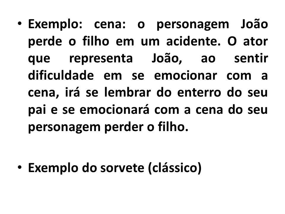 Exemplo: cena: o personagem João perde o filho em um acidente