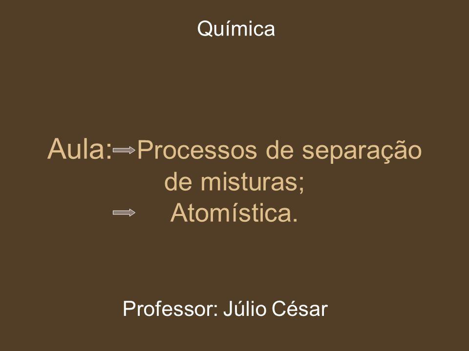 Aula: Processos de separação de misturas; Atomística.