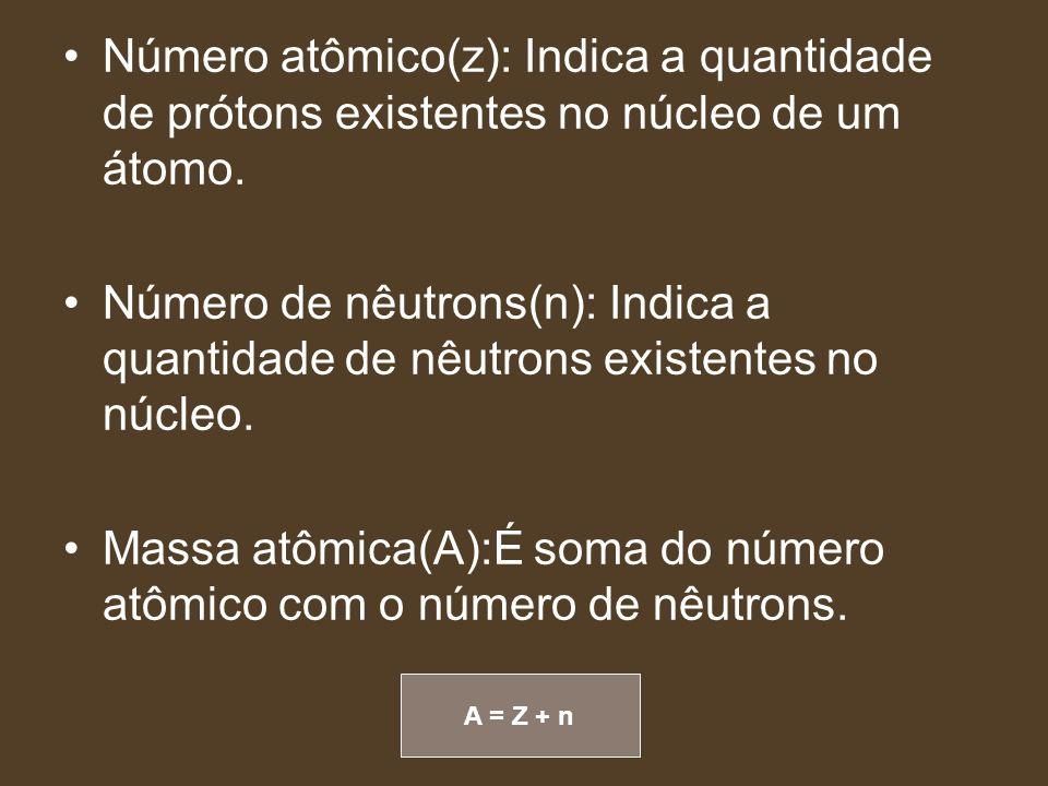 Massa atômica(A):É soma do número atômico com o número de nêutrons.