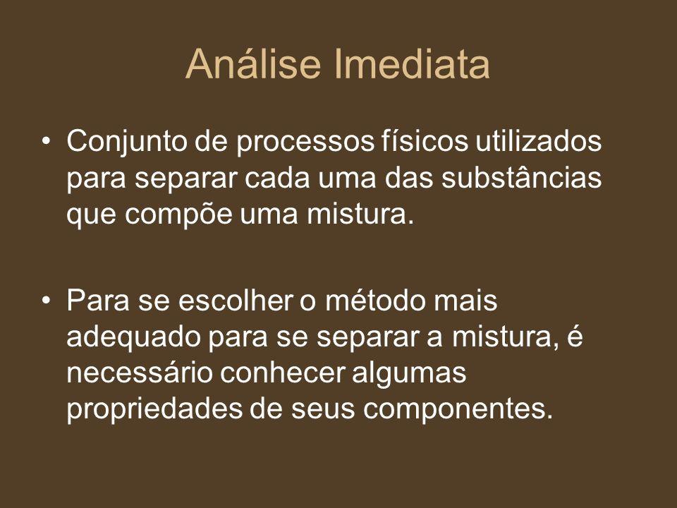 Análise Imediata Conjunto de processos físicos utilizados para separar cada uma das substâncias que compõe uma mistura.