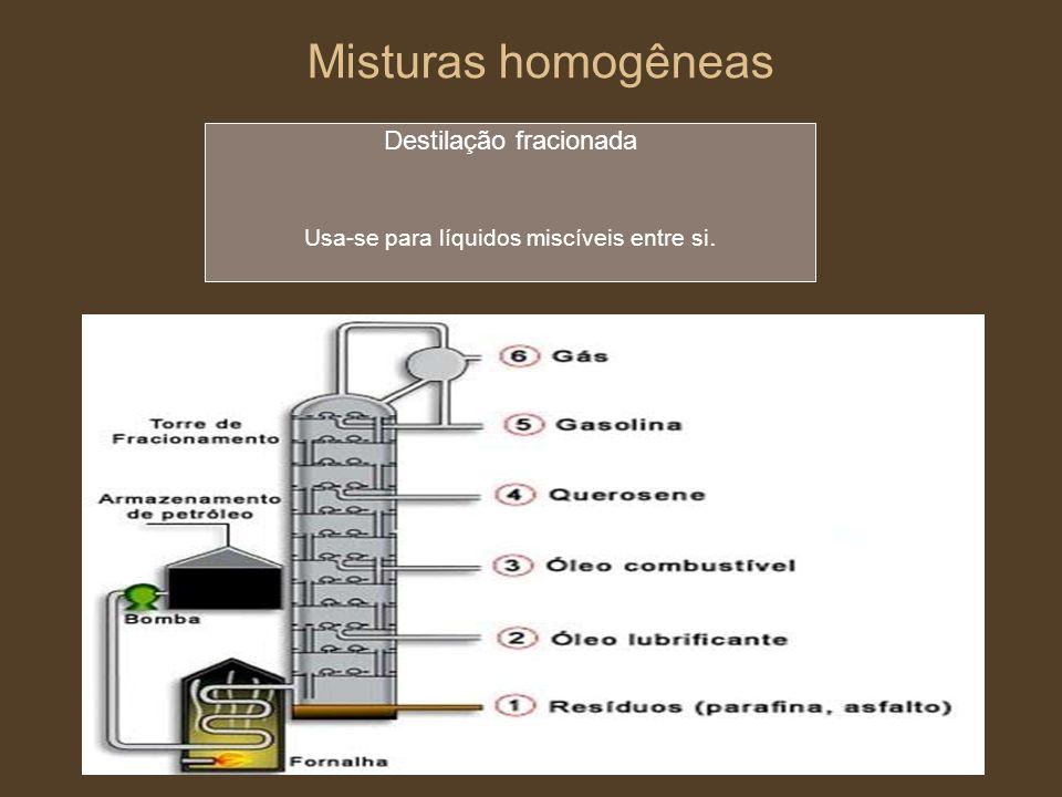 Misturas homogêneas Destilação fracionada